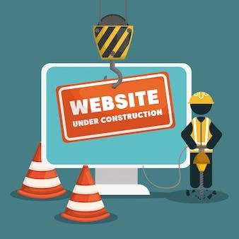 Sitio web en construcción con computadora de escritorio