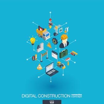 Sitio web en construcción integrado web iconos. concepto de interacción isométrica de red digital. sistema de línea y punto gráfico conectado. resumen de antecedentes para el desarrollo de aplicaciones. infografía