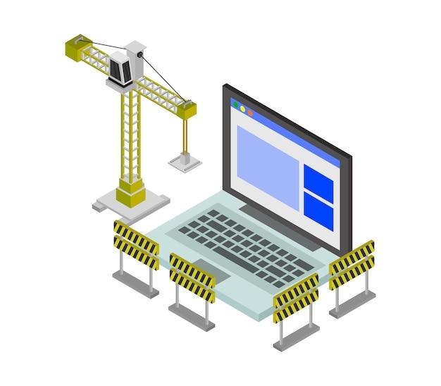 Sitio web en construcción isométrica