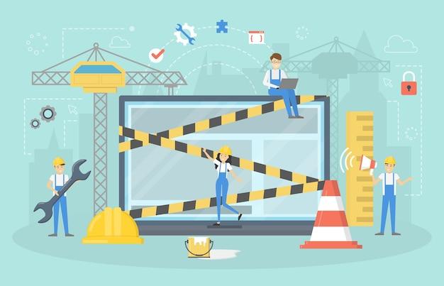 Sitio web en construcción. trabajo en progreso. la gente pequeña repara la página de inicio en internet. ilustración