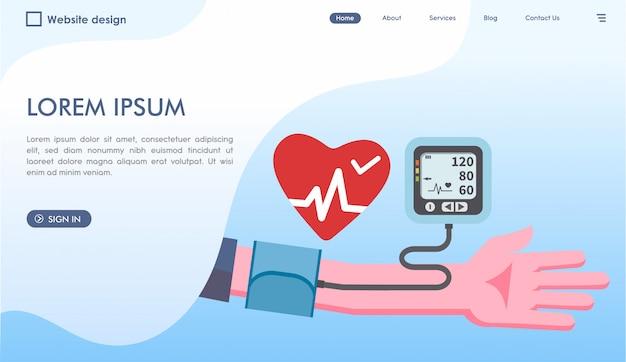 Sitio web de control médico de presión arterial en estilo plano