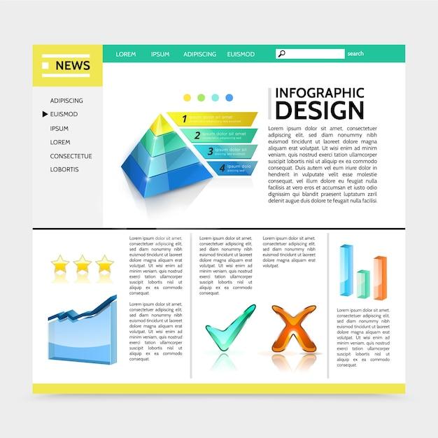 Sitio web de diseño infográfico realista con gráfico piramidal de marketing, barras de colores, marcas de verificación, banners de cinta, ilustración de texto