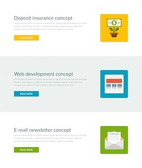 Sitio web encabezados o banners de promoción plantillas y diseño de iconos planos.