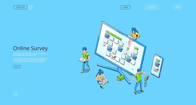 Sitio web de encuestas en línea. servicio web con cuestionario, lista de verificación o encuesta para la retroalimentación de los clientes, investigación de votos y opiniones de los clientes. página de inicio de vector con personas isométricas y prueba en pantalla