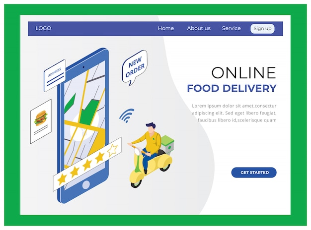 Sitio web de entrega de alimentos en línea isométrico