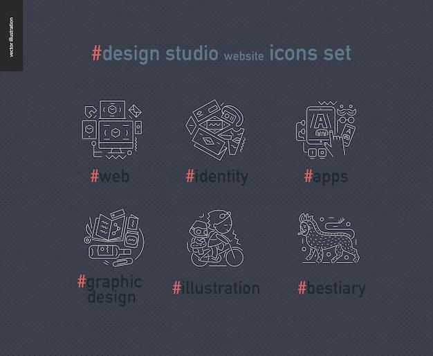Sitio web de estudio de diseño delineado conjunto de iconos