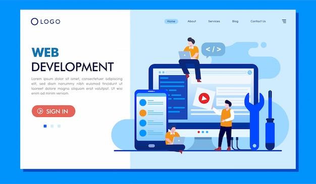 Sitio web de ilustración de página de destino de desarrollo web