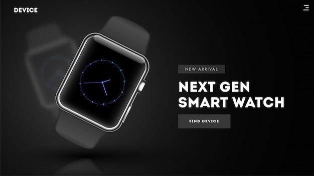 Sitio web de la imagen del héroe o página de destino con reloj inteligente.