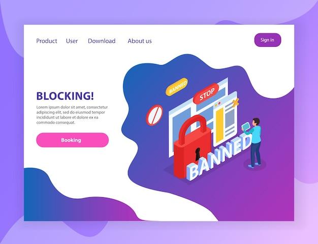 Sitio web de internet que bloquea la página de destino isométrica de usuarios abusivos con símbolos de señales de prohibición de bloqueo de parada prohibidos