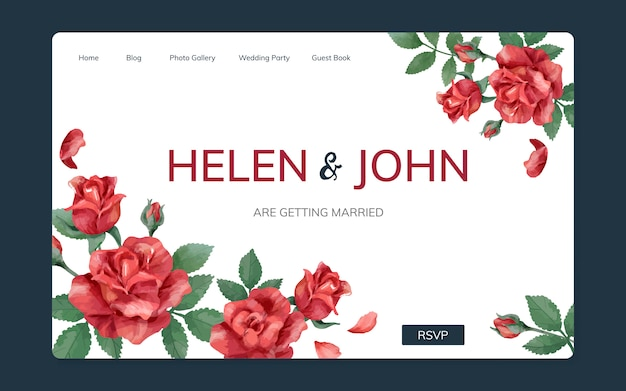 Sitio web de invitación de boda con un tema floral.