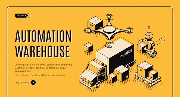 Sitio web isométrico de automatización de almacén de entrega