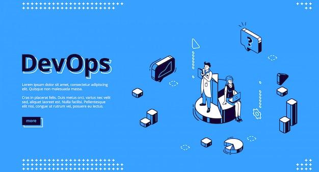 Sitio web isométrico devops, desarrollo y operación