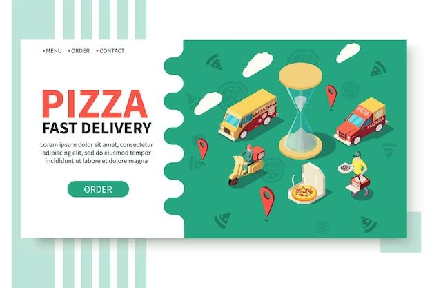 Sitio web isométrico de pizzería de producción de pizza.