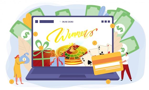 Sitio web de juegos de casino en línea, la gente gana fortuna, computadora portátil abierta y fondo de dinero, ilustración