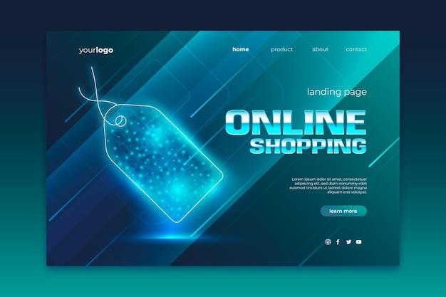 Sitio web en línea de compras de estilo futurista