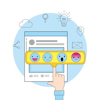 Sitio web y mensaje de chat social emoji