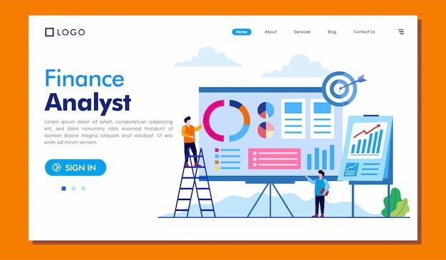 Sitio web de la página de aterrizaje del analista financiero