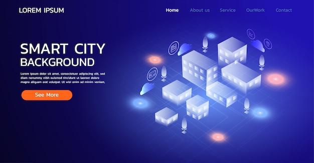 Sitio web de la página de aterrizaje. concepto de ciudad inteligente