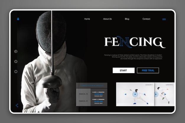 Sitio web de la página de aterrizaje de esgrima