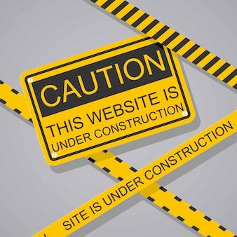 Sitio web en la página de construcción. ilustración de vector de estilo plano