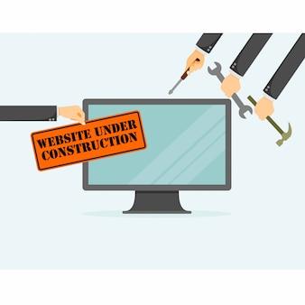 Sitio web en la página de construcción.