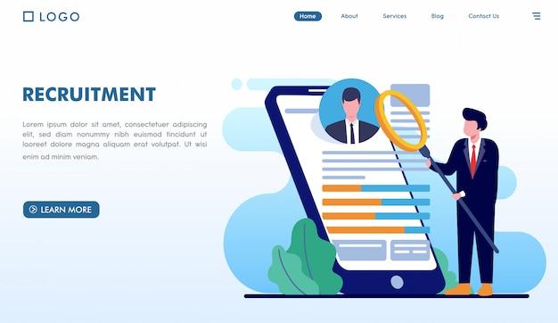 Sitio web de la página de destino de reclutamiento en estilo plano