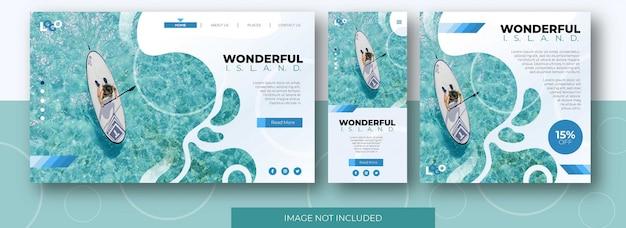 Sitio web de la página de destino de viajes, pantalla de aplicaciones y plantilla de publicación de feed de redes sociales con playa
