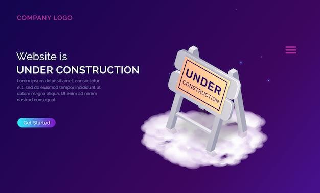 Sitio web en la página de inicio de construcción