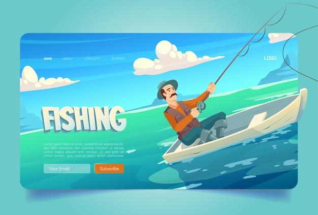 Sitio web de pesca con lago y hombre en barco pescador con caña de pescar en estanque de río o mar
