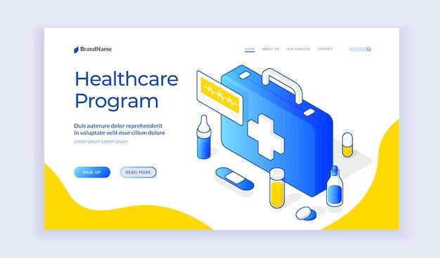 Sitio web del programa de atención médica. plantilla de banner de sitio web de página de destino Vector Premium