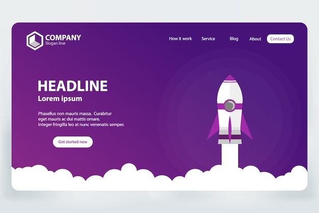 Sitio web ranking landing page vector template design concept