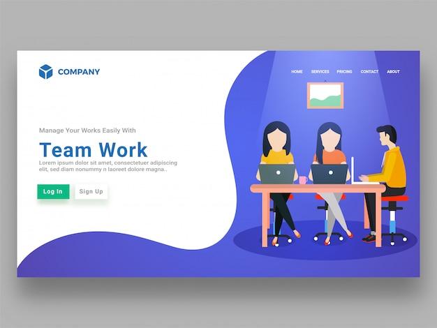 Sitio web receptivo con gente de negocios sin rostro