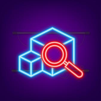 Sitio web de seguimiento de paquetes icono de neón seguimiento de paquetes en línea concepto moderno
