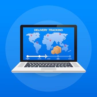 Sitio web de seguimiento de paquetes en la pantalla del portátil