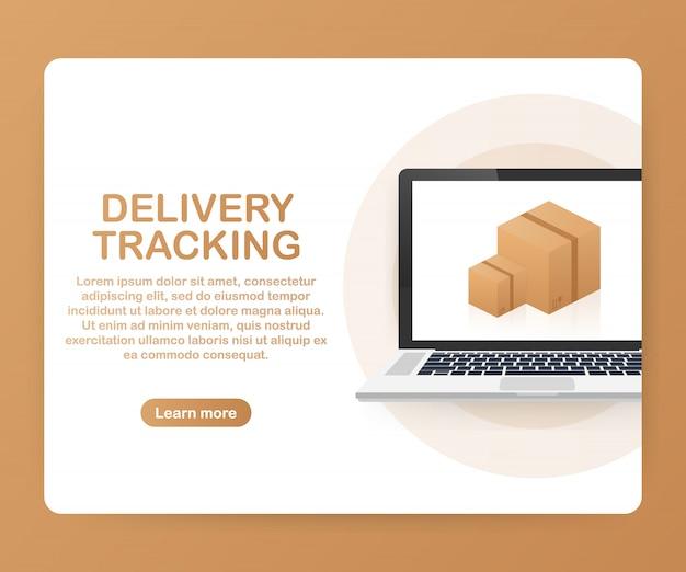 Sitio web de seguimiento de paquetes en la plantilla de la pantalla del portátil