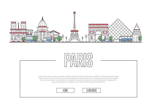 Sitio web de travel paris en estilo lineal