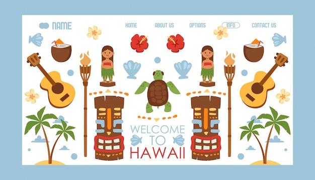 Sitio web de viajes a hawai, vacaciones de verano en una exótica isla tropical en el océano pacífico,