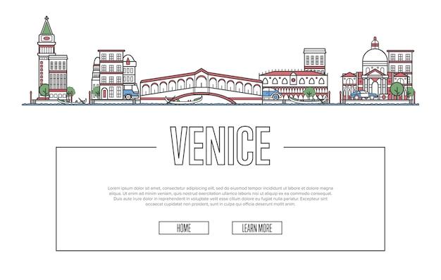 Sitio web de viajes de venecia en estilo lineal