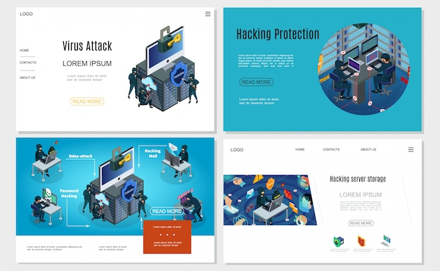 Sitios web de actividad de hackers isométricos configurados con contraseña de computadora correo electrónico centro de datos piratería virus ataques de troyanos protección de autorización biométrica