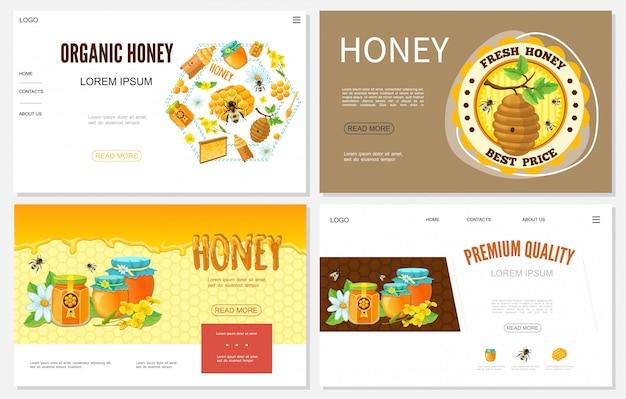 Sitios web de dibujos animados de miel con colmenas, panal, abejas, macetas de flores y frascos de productos dulces orgánicos