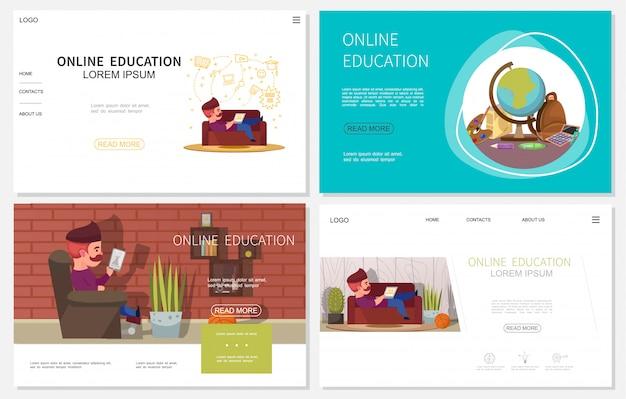 Sitios web de educación en línea planos con hombre que usa dispositivos para aprender en casa y objetos escolares