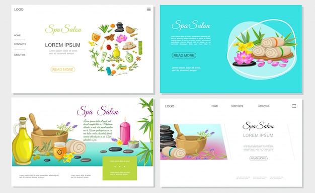 Sitios web de salón de spa plano con flores de miel, toallas de aceite de oliva natural, hierbas en aroma de mortero, velas, piedras, cremas de bambú