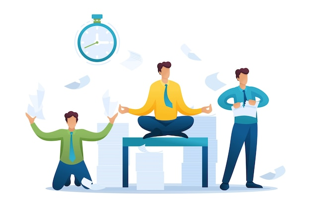 Situación estresante de la oficina, el personal corriendo, resuelve problemas, medita.