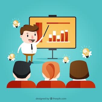 Situación de negocios durante una presentación