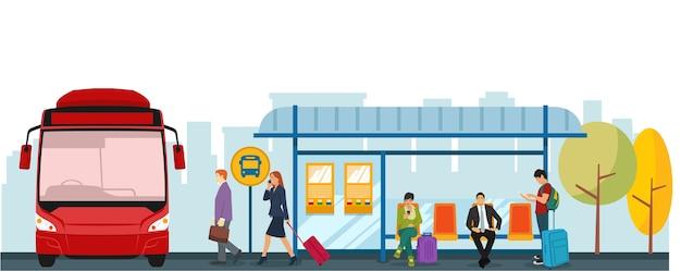 Situación de parada de autobús en la mañana cuando las personas van a trabajar