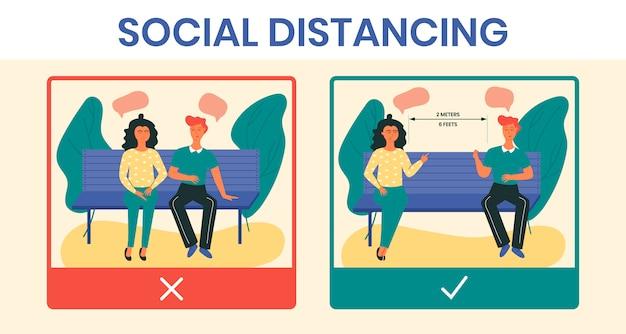 Situaciones de distanciamiento social correcto e incorrecto en un parque durante la cuarentena de covid-19. prevención de la infección por coronavirus al mantener distancia