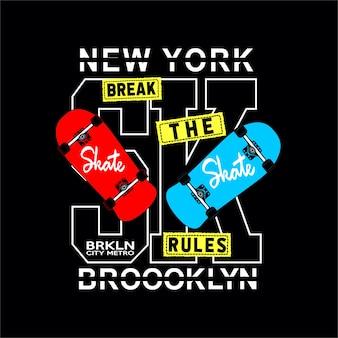 Skate board tipografía camiseta gráficos vectoriales