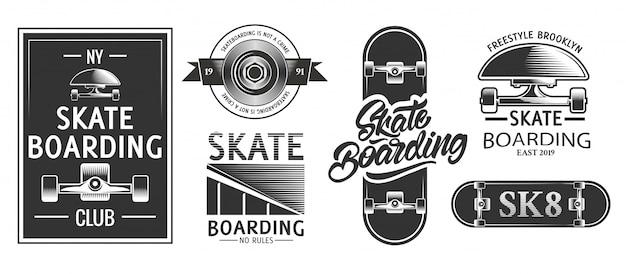 Skateboarding logos o emblemas en estilo monocromo.