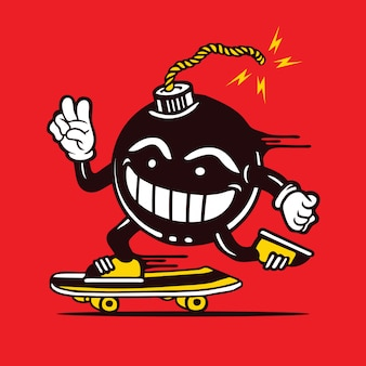 Skater black ball bomb skateboarding diseño de personajes