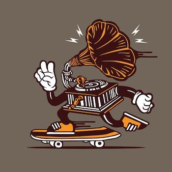 Skater gramófono reproductor de música vintage skateboarding diseño de personajes